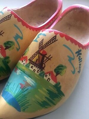 Handpainted Wooden Clogs with Windmills (Made in Holland)