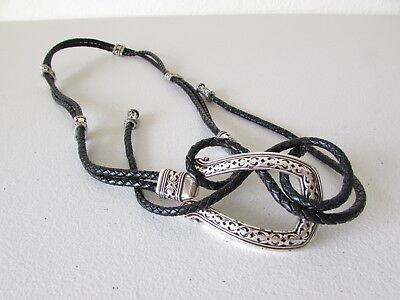 "Brighton Black Braided Cords Leather Silver Buckles Soft Belt 43"" Long"