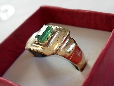 SUPERB..DETECTOR FIND, 200-400 A.D ROMAN BRONZE RING W/100% REAL 2 ct EMERALD