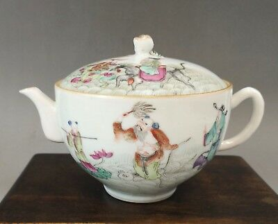 """A beautiful Chinese 19C famille rose """"eight immortal"""" teapot-Tongzhi mark&period"""