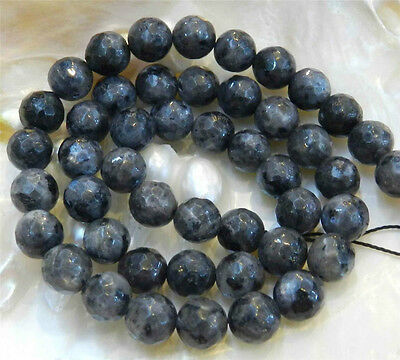 "Natural 8mm Faceted India Black Gray Labradorite Gems Round Loose Beads 15""AAA"