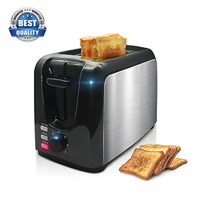 Toaster, 2 Slice Toaster Toasts Evenly And Quickly Black Stainless Steel Bagel 2