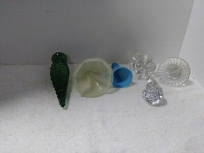 Nice Lot of 6 Vintage Glass Decanter Stoppers/Tops Green, Blue, Yellow, Crystal