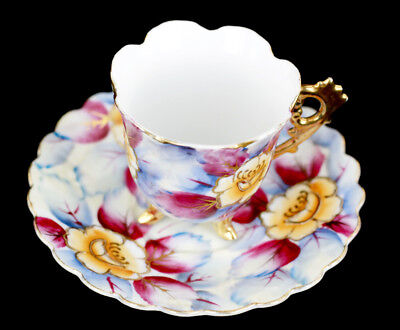 Vintage Shafford Chintz w Moriage Hand Painted Floral Cabinet Cup Saucer Marked