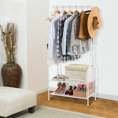 2-Tier Entryway Hat Coat Rack Shoe Storage Bench Clothes Hanger Bag Stand Shelf
