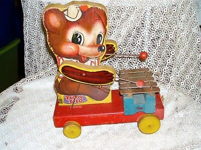 Vintage Fisher Price Pull Toy 1946 #752 Teddy Zilo Xylophone Only Made 2 Years!