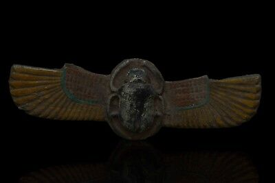 Rare EGYPTIAN SCARAB ANTIQUES Wings HIEROGLYPHS Carved Stone EGYPT STATUE BC