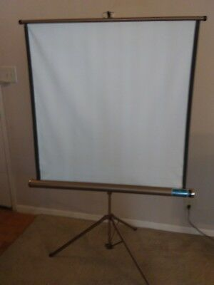 Projection Screen, portable, rolls up into case, opens onto tripod 36 x 69.