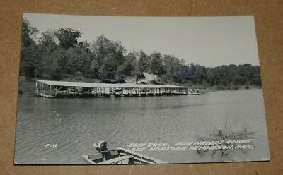 c1955 Boat Dock Blue Waters Resort Lake Norfork Henderson Arkansas RPPC AR