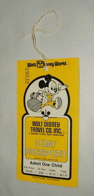 1980 Walt Disney World Child  Passport Ticket Good For 1 Day To All Parks