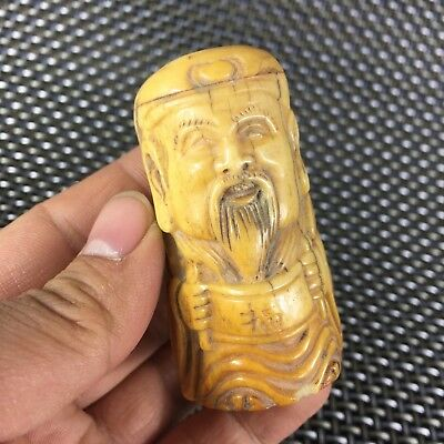 Antique Rare Collectible Old Chinese B0ne Handwork Carved Wealth God Rare Statue