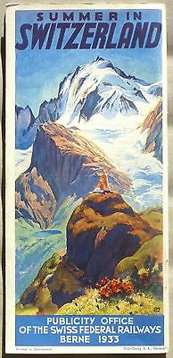 1933 Switzerland Swiss Federal Railways vintage English language brochure b