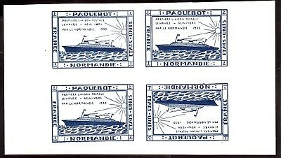 1935 * Local Packet Post Le Havre & New York 1 Pair + 1 Pair Tete Beche Block  4