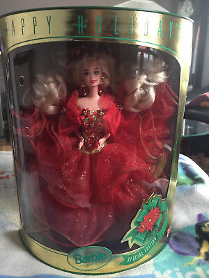 1993 Mattel Happy Holidays Blonde Red Holly Dress Barbie Doll Special Edition