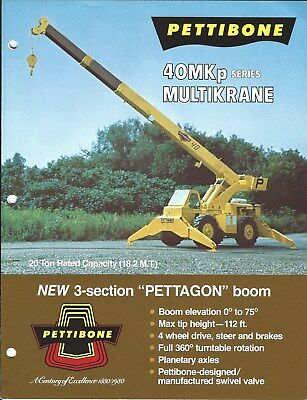 Equipment Brochure - Pettibone - 40MKp series - Boom Crane - c1983 (E4783)
