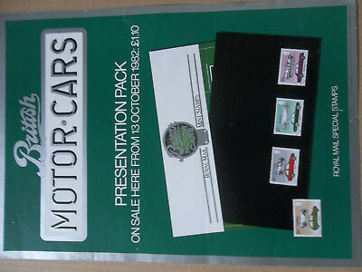 Royal Mail A3 Post Office Poster 1982 British Motor Cars Presentation Pack