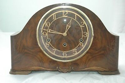 Antique/vintage Smiths Mahogany Westminster Chimes Mantle Clock.
