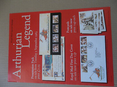 Royal Mail A3 Post Office Poster 1985 Arthurian Legend Lancelot First Day Cover