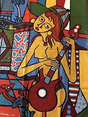"""Vintage Retro """"Picasso Style"""" Art Abstract Bright Fabric 75 X 92 Cm Exc' Cond'"""