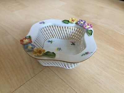 Herend Square Reticulated Pierced Dish - Applied Flowers Decoration - 7383/mf