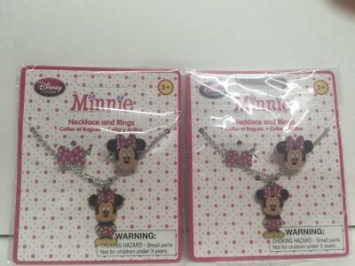2 x Disney Minnie Mouse Pink Ring necklace Jewelry set