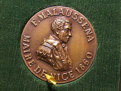 FRENCH F. MALAUSSENA MAIRE DE NICE 1860 MAYOR OF city of NICE medal by Drago