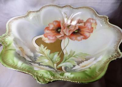 Stunning RS Germany Art Nouveau Antique Bowl Poppy Hand Painted 22K Gold