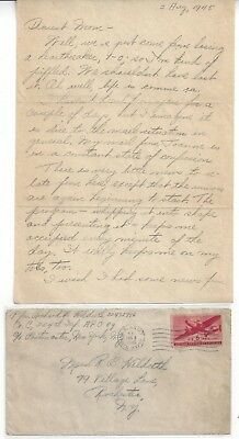 """1945 WW II U.S. Army """"Dearest Mom"""" Letter and Cover"""
