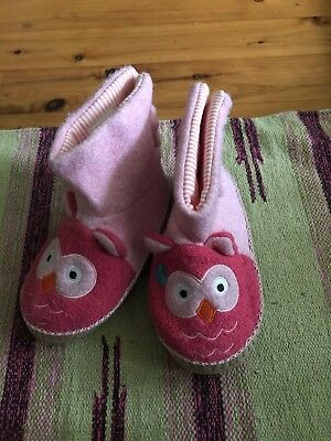 Hanna Andersson Pink Owl Warm Winter WooL Slippers Shoes Girls Youth Large 2 / 3
