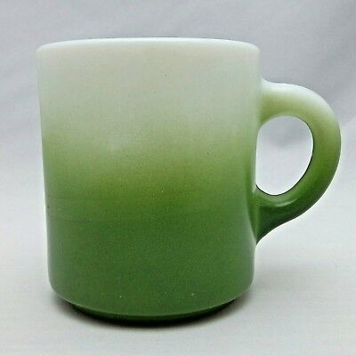 "Vintage Milk Glass Mug Green White Ombre 3 3/8"" tall Coffee Tea Light Wear Cute"