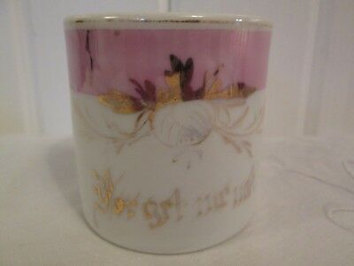 Antique Porcelain Gift Mug Cup Hand Painted Forget Me Not Pink Floral Victorian