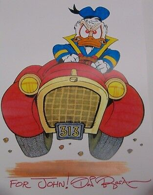 Don Rosa Signed Autographed Walt Disney Donald Duck Road Rage Car Art Print Coa