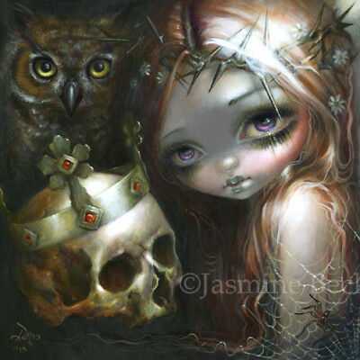 Jasmine Becket-Griffith art print SIGNED Empire of Dirt goth owl crown of thorns