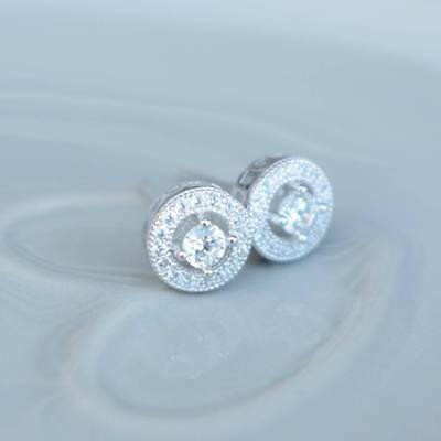 0.60 Ct Round Halo Diamond 925 Sterling Silver Womens Stud Earrings