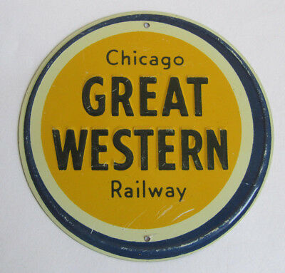 ONE Vintage Metal Post Cereal CHICAGO GREAT WESTERN RAILWAY Railroad Emblem $5