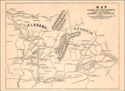 ALABAMA & GEORGIA, CIVIL WAR MAP GEN. WILSONS CAMPAIGN, antique original on map of sw georgia, map of northwest ga, map of southern montana, map tuscaloosa al, map of georgia geology, map of counties of georgia, map tennessee and alabama, county map georgia and alabama, map of georgia alabama line, map of lagrange georgia, map mississippi and alabama,