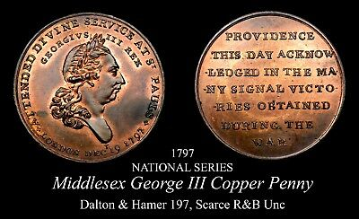 Lustrous Middlesex George III Conder Penny D&H 197, R&B unc