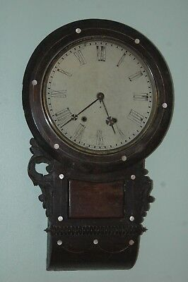 Antique Inlaid Drop Box Wall Clock To Restore.r.jeffries,stockport.