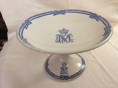 Cauldon Antique. Cakestand/comport With Initials Crest And Crown