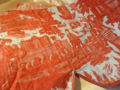 Wonderful Huge Nantes Early 19th Century Toile De Jouy Hand Quilted Pelmet