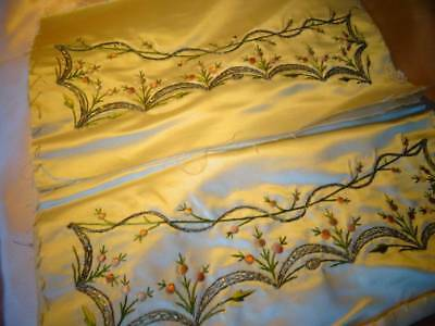 Two Stunning Regency Hand Embroidered On Silk Panels c.1820