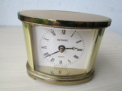 Vintage Brass Metamec Oval Mantle Clock - Quartz Movement - Made In England