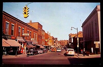 GARDINER, ME, Maine, Water Street Main, Stores, Signs, Classic 1940s 1950s cars
