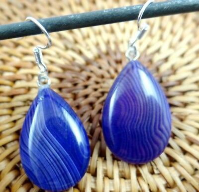 Beautiful Pair Of Water droplets purple agate pendant 925 silver Earrings A-41