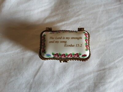 Imperial Porcelain Trinket Box Bible Verse Exodus 15 : 2