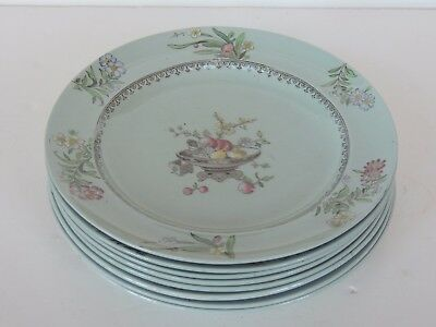 """C1878 Mintons set 8 Plates 8"""" Hand Painted Chinese Blossom Antique Celadon EXC"""