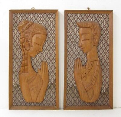 Witco Mid Century Modern Framed Carved Teak Wood Praying Couple Wall Hangings