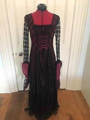 Pantomine theatre stage Women's Gothic Black/burgundy style dress