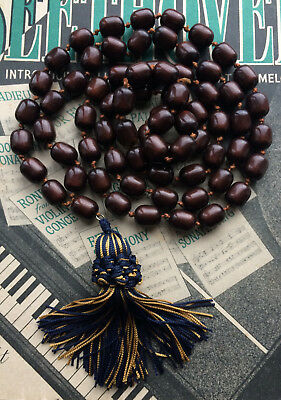 Antique Art Deco Faturan Bakelite Style Olive Prayer Beads Long Flapper Necklace