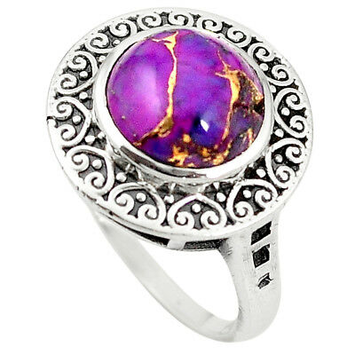 Purple Copper Turquoise 925 Sterling Silver Ring Jewelry Size 8 M46687